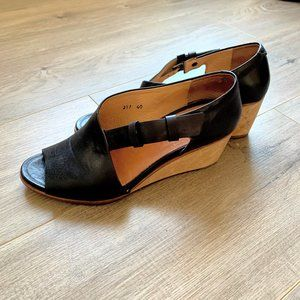 NEOSENS Wooden wedge heel leather shoes
